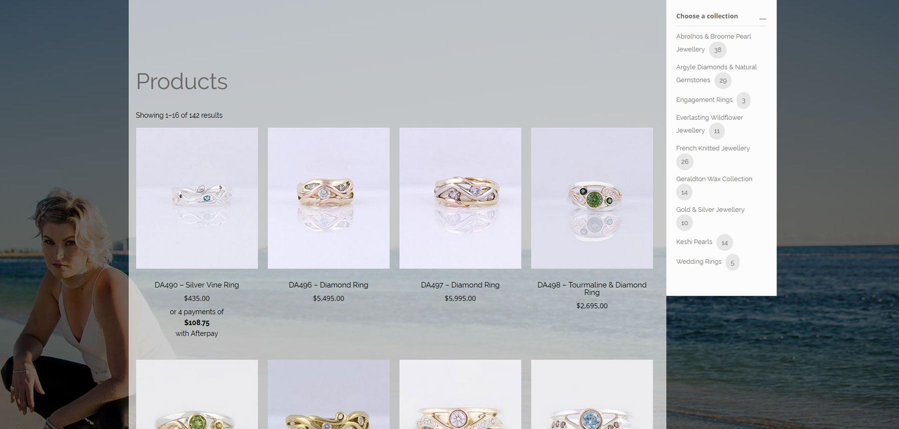 Gemma baker Jeweller shop page