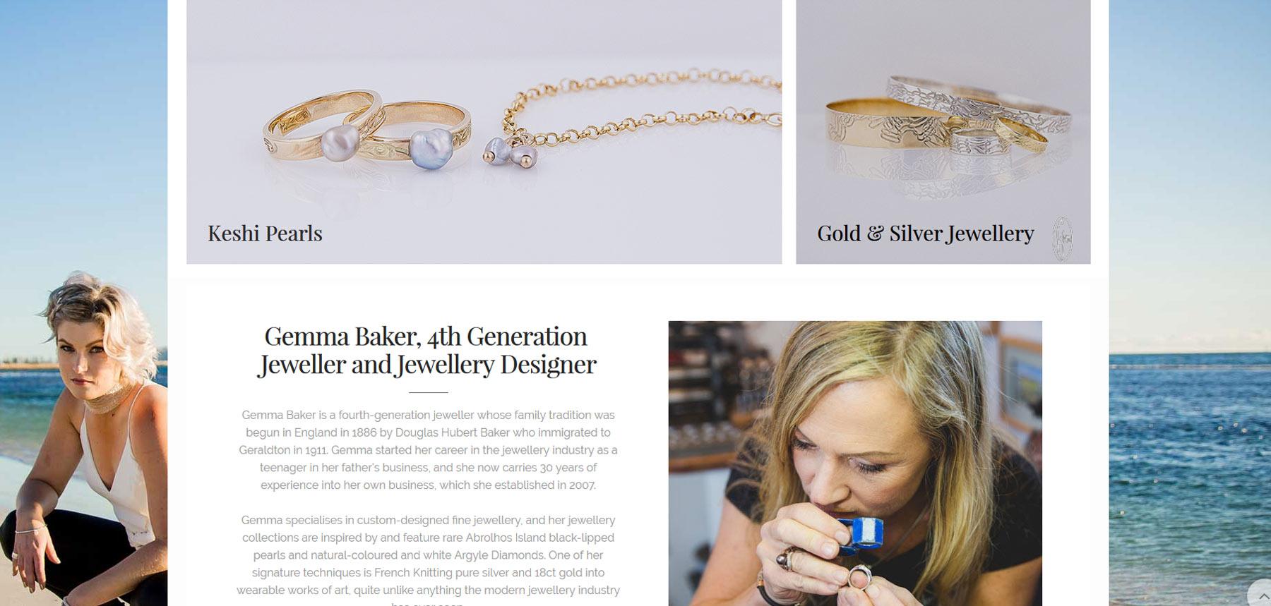Gemma baker Jeweller website page