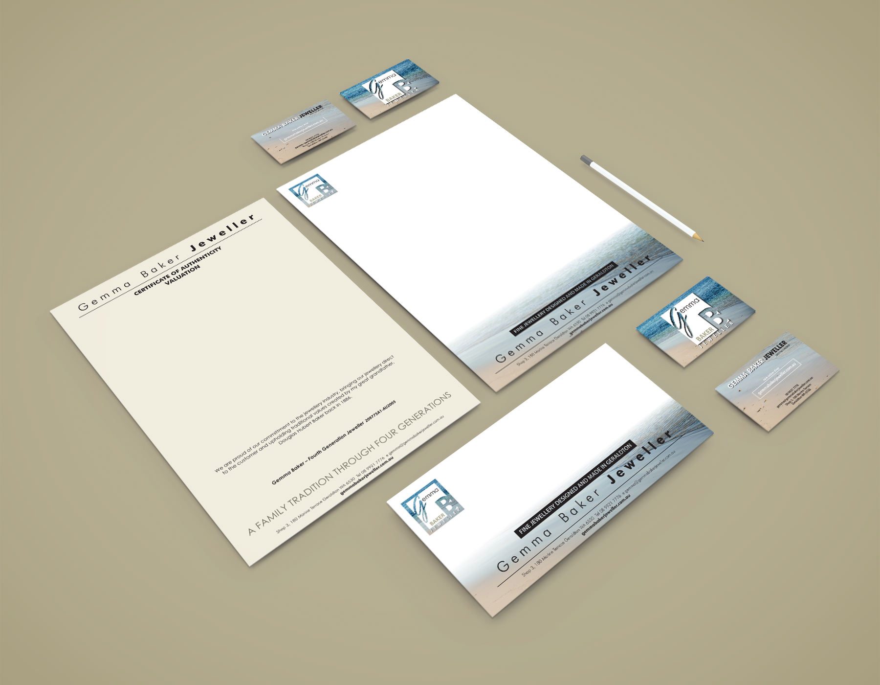 GBJ stationery graphic design